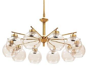 12. A ten-lights brass chandelier, probably by Hans-Agne Jakobsson, Markaryd, Sweden 1960's-70's.
