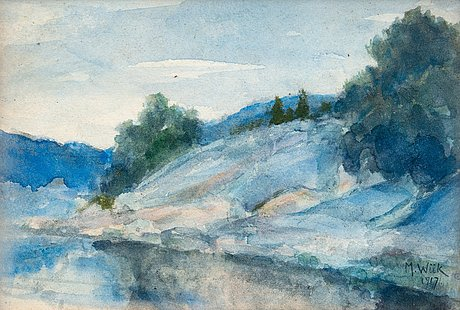 Maria wiik, landscape with cliffs.