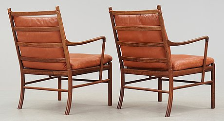 A pair of ole wanscher 'colonial chair, pj 149' by poul jeppesen, denmark.