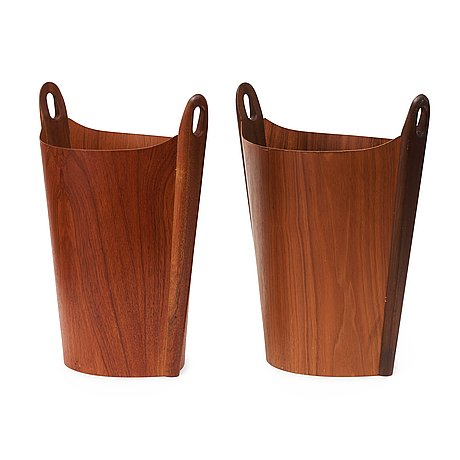 Two ps heggen teak waste paper bins, nordfjordeid, norway 1960's.