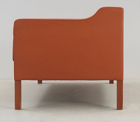 A børge mogensen brown leather two-seated sofa, fredricia stolefabrik, denmark.