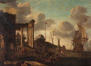869. ABRAHAM STORCK Hans krets, Hamn vid Medelhavet med båtar och figurer.