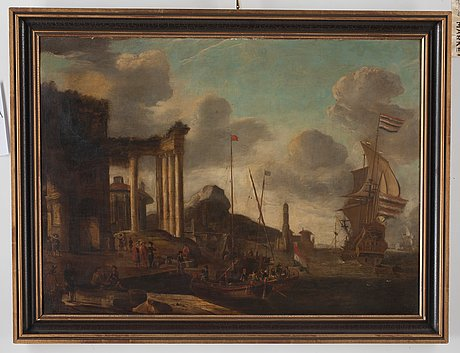 Abraham storck circle of, a port by the mediterranean with boats and figures.