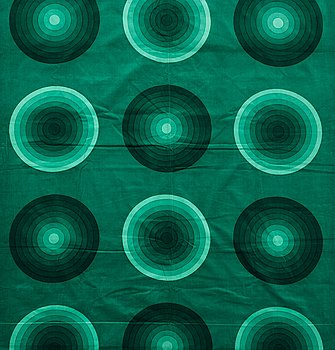 126. VERNER PANTON, CURTAINS, 3 PIECES, AND SAMPLERS, 10 PIECES.  Cotton velor. A variety of green nuances and patterns. Verner Panton.