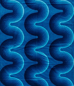 128. VERNER PANTON, CURTAIN AND SAMPLERS, 5 PIECES.  Cotton velor. A variety of blue nuances and patterns. Verner Panton.