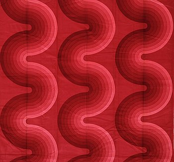 129. VERNER PANTON, CURTAIN, FABRIC AND SAMPLERS, 6 PIECES.  Cotton velor. A variety of dark to light red nuances and patterns. Verner Panton.
