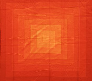 130. VERNER PANTON, CURTAINS, 2 PIECES, AND SAMPLERS, 11 PIECES.  Cotton velor. A variety of orange nuances and patterns. Verner Panton.