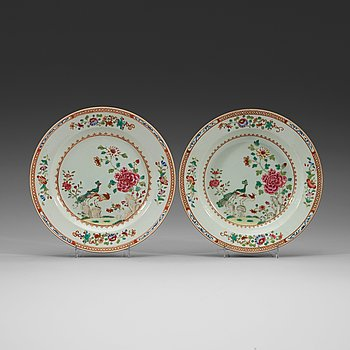 202. A set of four deep and four flat famille rose 'double peacock' dishes, Qing dynasty, Qianlong (1736-1795).