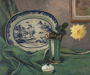 532. Olle Hjortzberg, Stilleben med ros och kinesiskt porslin.