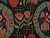 """Carriage cushion. """"the annunciation"""". tapestry weave. 52 x 96,5 cm. scania, sweden, first half of the 19th century."""