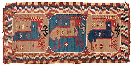 """Carriage cushion. """"bäckahästen"""". double-interlocked tapestry. 48 x 99 cm. scania, sweden, around 1800."""