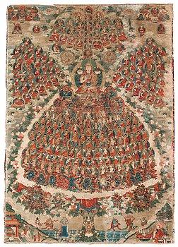 111. A Tibetan Thangka of Tsong Khapa and the Gelugpa Refuge Tree, presumably 19th Century.