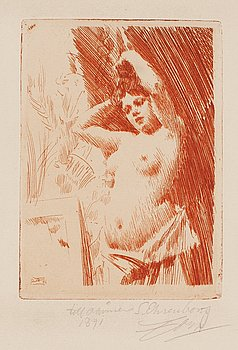 ANDERS ZORN, etching in red, 1891 (edition 15-20 copies, presumably only few printed in red), signed in pencil.
