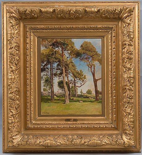 Berndt lindholm, landscape with pine trees.