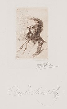 713. Anders Zorn, ANDERS ZORN, etching (II state of II), 1888, signed in pencil by Zorn and also by Snoilsky.