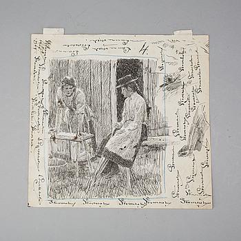 EUGÈNE JANSSON, teckning. Signerad och daterad 1905.