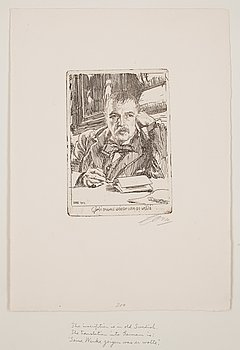 """722. Anders Zorn, """"Self Portrait with Inscription 1904""""."""