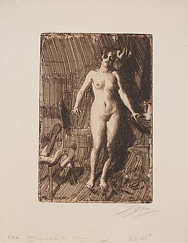 718. Anders Zorn, ANDERS ZORN, etching (II state of II), von Van Gelder Zonene paper, 1901, signed in pencil.