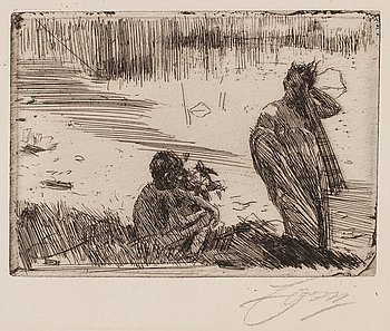 """717. Anders Zorn, """"Young People bathing""""."""