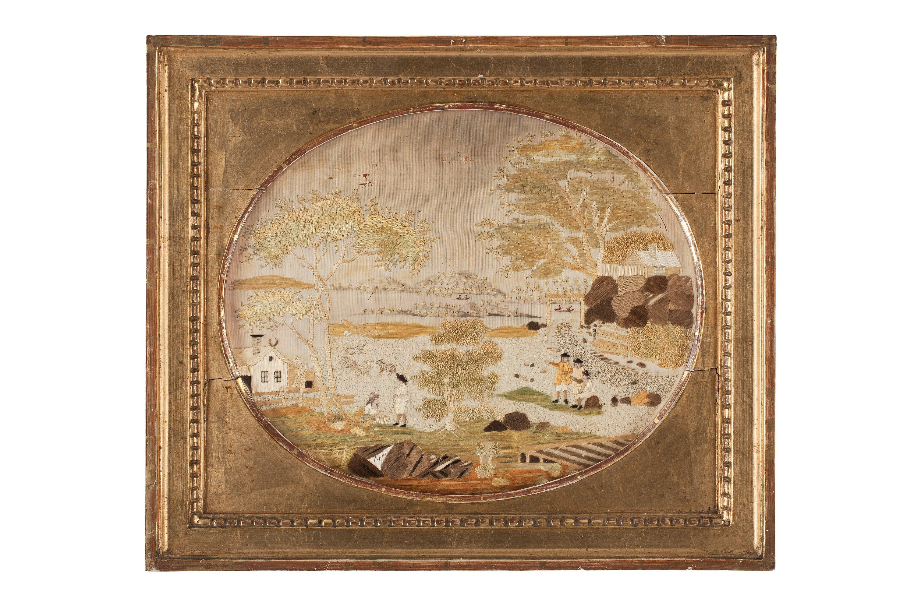 Embroidery Sweden Around 1800 265 X 32 Cm A Frame From The Time