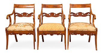 336. THREE ARMCHAIRS.