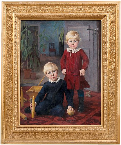 """Helene schjerfbeck, """"a portrait of two children""""."""