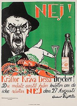 """671. Albert Engström, """"Nej! Kräftor kräva dessa drycker!""""."""