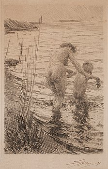 ANDERS ZORN,Etching (presumably an unrecorded state between II and III), 1890, signed with indian ink and dated '90.