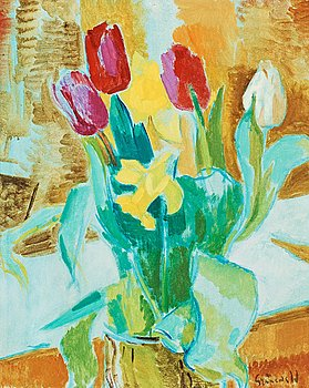 10. Isaac Grünewald, Still life with tulips and daffodils.