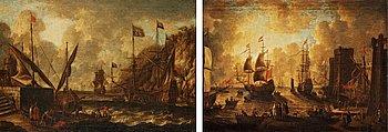870. Hamn med figurer och båter.