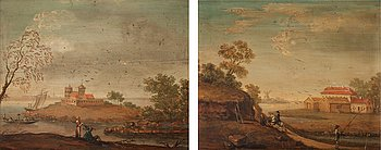 817. JOHAN PHILIP KORN Attributed to, Landscape with a country mansion.