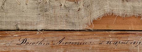 Dorothea arosenius, broderi. signerad och daterad 24 april 1819 a tergo.