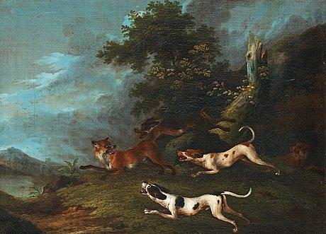 Carl fredrik kiörboe attributed to, fox hunting.