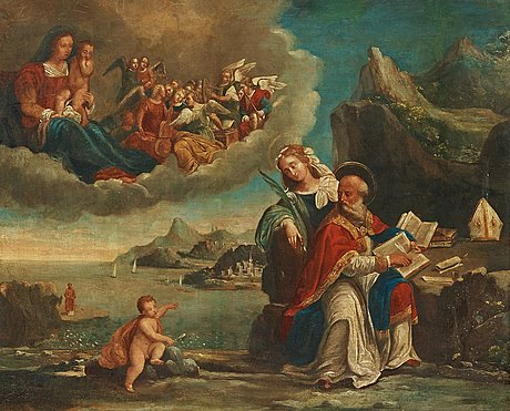 Benvenuto da tisi  (garofalo) in the manner of the artist, saint augustine with the holy family and saint catherine of alexandria (the vision of saint augustine).