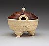 A large white glazed ceramic tripod censer, qing dynasty, 19th century.