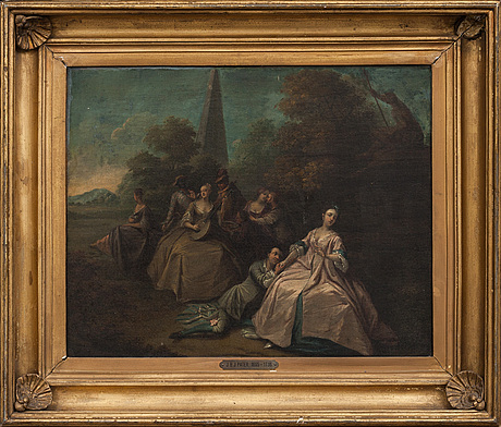 Jean-baptiste joseph pater circle of, landscape with lovers in the foreground.