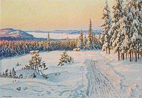 """Anshelm schultzberg, """"vinterdag i ludvikatrakten"""" (winter day near ludvika)."""