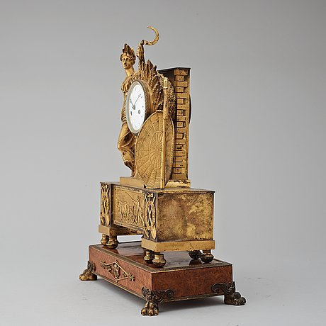 A french empire 19th century gilt bronze mantel clock by rieussec.