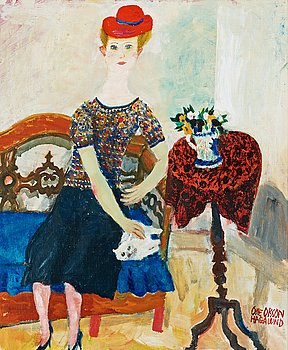 "5. OLLE OLSSON-HAGALUND, ""Dam med katt"" (Lady with cat)."