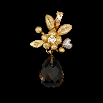HÄNGE, Ole Lynggaard, 18 k tvåfärgat guld, briljantslipad diamant. Vikt 2,5 g.