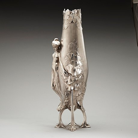 A hugo leven white metal art nouveau vase, probably for j. p kayser sohn, germany.