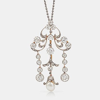 1108. An Edwardian pearl and old- and rose-cut diamond necklace.