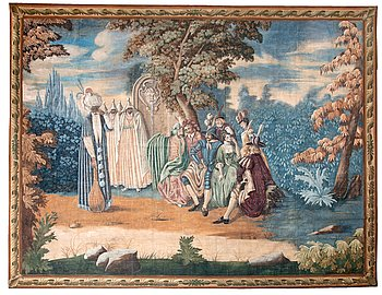 A PAINTED TAPESTRY, 18TH CENTURY.