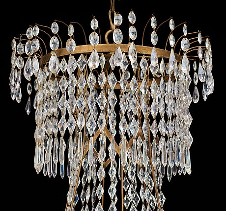A late gustavian circa 1800 seven-light chandelier.
