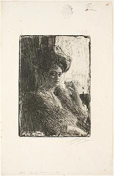 ANDERS ZORN, etsning, utförd 1905, signerad i blyerts.