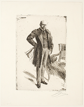 ANDERS ZORN, etsning, utförd 1900, signerad med blyerts.