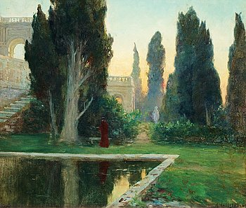 660. GOTTFRID KALLSTENIUS, Villa d´Este at sunset.