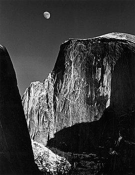 "211. Ansel Adams, ""Moon and Half Dome, Yosemite National Park, ca. 1960""."