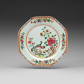 204. A set of six double peacock dishes, Qing dynsty, Qianlong (1736-95).