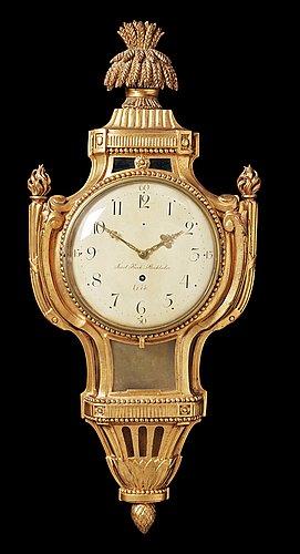 A gustavian 18th century wall clock by j. kock, master 1762.